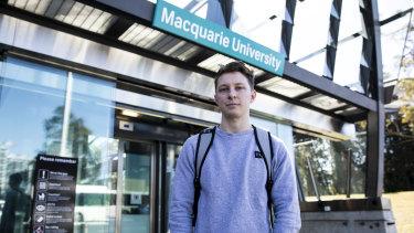 Linguistics student Tom Schien at Macquarie University station.