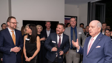 Broadcaster Alan Jones gave a pep talk to new Liberal MPs at a function hosted by lobbyist Michael Kauter.
