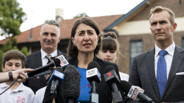 Premier Gladys Berejiklian and Education Minister Rob Stokes visit Concord Public School to talk about a mobile phone ban in Schools in Sydney.