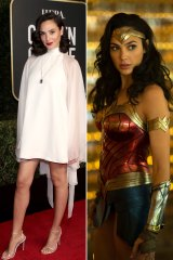 Not all heroes ... Gal Gadot at the Golden Globes (left) and as Wonder Woman.