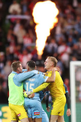 On fire... Melbourne City kick off their celebrations.