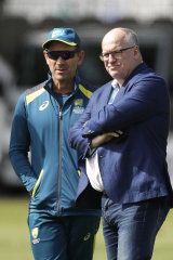 Earl Eddings with Justin Langer at Lord's in 2019.