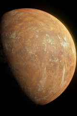 """An artist's impression of the """"super-Earth"""" planet that orbits Barnard's Star, whose light casts an orange tint."""