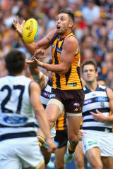 Jack Gunston in action against Geelong in 2015, the year they finally beat the Cats in an Easter Monday clash.