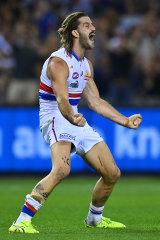 Josh Bruce celebrates reaching his double-figure tally.