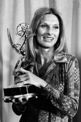 Leachman with one of the eight Emmy awards she picked up in her career.