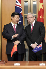 China's then vice-president Xi Jinping with then Australian Prime Minister Kevin Rudd at Parliament House in Canberra in 2010.
