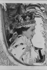 A close-up of the newly-crowned Queen, wearing the Imperial State Crown during her processional drive after her Coronation.