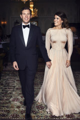 Princess Eugenie of York and Jack Brooksbank are photographed at Royal Lodge, Windsor, England, ahead of the private evening dinner.