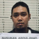 Abu Sayyaf commander Anduljihad Susukan at the Davao City Police Station in Davao province, southern Philippines on Thursday.