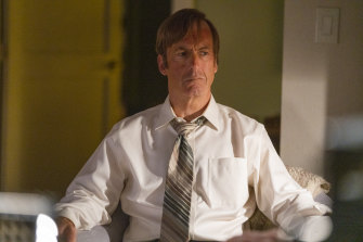 Odenkirk as Jimmy McGill in a scene from Better Call Saul.
