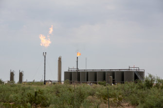 Methane gas is flared at a refinery in New Mexico.
