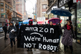 Amazon workers protest outside Jeff Bezos' New York penthouse in 2019.