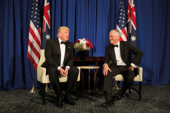 Malcolm Turnbull with US President Donald Trump in mid-2017. While their first phone conversation as leaders was strained, Turnbull says they moved on with no hard feelings.
