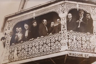 Arty beginnings: a  group of leading artists taken in 1963 on the balcony of the then Hungry Horse. From left: Frank Hodgkinson, Stanislaus Rapotec, Charles Reddington, William Rose, Carl Plate, Colin Lanceley, John Olsen, Leonard Hessing, Robert Klippel, John Coburn, Robert Hughes and Emmanuel Raft.
