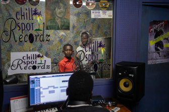 Tinashe Balakazi, 9, at the Chillspot Records studio in Harare.