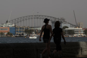 Sydney Harbour covered with a dusty haze on Thursday.
