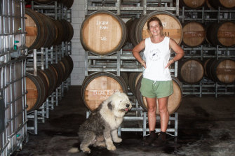 Dormilona winemaker Josephine Perry with her dog Humphrey at her Margaret River winery.