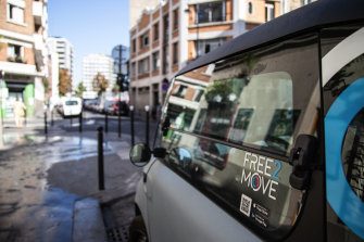 A Citroen Ami compact electric car sits for hire via the Free2Move scheme in Paris, France. The EU chief wants Europe to become the world's first climate-neutral continent by mid-century.