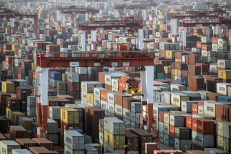 The imbalance in trade is reflected in massive buildups of empty containers in or near the ports of advanced economies and a shortage of containers in China.