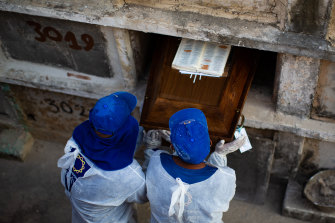 Cemetery workers bury a COVID victim  in Rio de Janeiro on Wednesday.