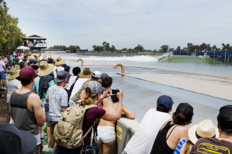 Thousands of fans attend surfing events at the Lemoore Surf Ranch.