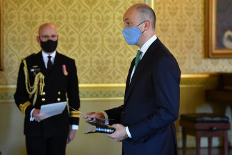 NSW Treasurer Matt Kean is sworn in on Tuesday.