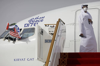 The first commercial passenger flight to Israel by a carrier from the United Arab Emirates landed near Tel Aviv on Monday.