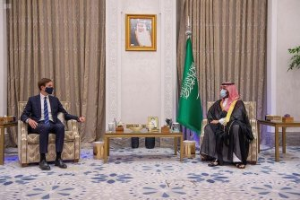 Saudi Crown Prince Mohammed bin Salman, right, meets with Senior Advisor to the U.S. President, Jared Kushner in Riyadh, Saudi Arabia, Tuesday, Sept. 1, 2020.