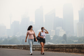 Hazardous bushfire smoke blanketing Sydney CBD in December.