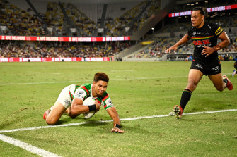 Jaxson Paulo scores a try in Souths' memorable win in Townsville.