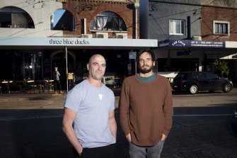 Mark Labrooy, Three Blue Ducks chef and co-owner, and Phil Abram from The Char Rotisserie on the main street in Bronte.