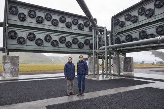 Christophe Gebald, left, and Jan Wurzbacher, co-founders and co-chief executive officers of Climeworks, at the Orca direct air capture and storage facility, in Hellisheidi, Iceland.