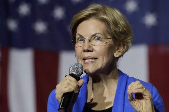 Eyes on the billionaires: Democratic presidential candidate Senator Elizabeth Warren.