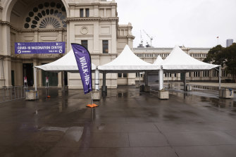 The COVID-19 vaccination centre at the Royal Exhibition Building in Carlton on Friday afternoon.