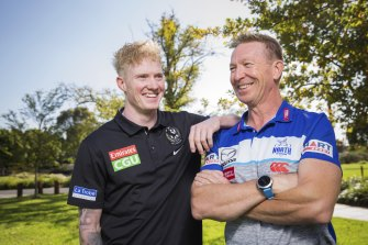Son v father, player v coach: Collingwood player John Noble will come up against North Melbourne coach David Noble on Saturday.