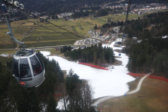 The view from the cable car at the Alpine  resort of Garmisch-Partenkirchen, Germany is greener than it should be in January.