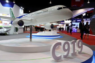 COMAC's flagship C919 plane, its rival to Boeing and Airbus.