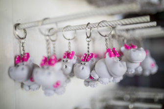 Hippo key rings are displayed for sale at a souvenir shop near the Napoles Park in Puerto Triunfo, Colombia.