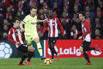 Macarthur FC imports Benat Etxebarria, left, and Markel Susaeta in action against Barcelona last year.