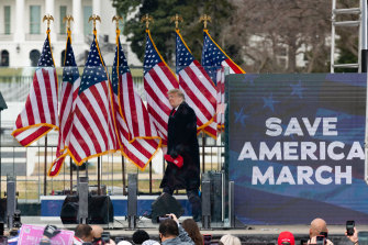 US President Donald Trump arrives at the Save America rally that led to the March on the Capitol on Wednesday January 6.