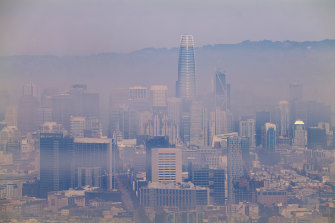 The San Francisco skyline is partially obscured by smoke from the multiple bushfires burning in California.