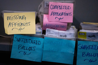 Boxes of ballots and applications at an elections office in Georgia on November 5, 2020.