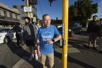 Jeremy Lawrence is pushing for more pedestrian crossings and wider footpaths in his suburb.