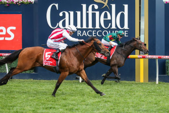 Super Seth swoops down the outside to beat Alligator Blood in the Caulfield Guineas.