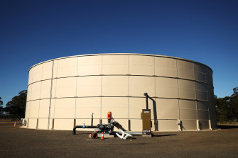 A water storage tank stands at the Santos Ltd. Leewood water treatment facility in Narrabri.