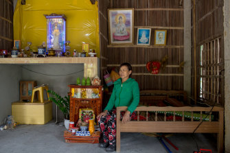 Le Thi Huong, 59, a mangrove palm farmer, in her home made from the palms in Cam Thanh commune.