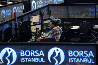 The Borsa Istanbul stock exchange in Turkey, where annual inflation is running at 15.6%.