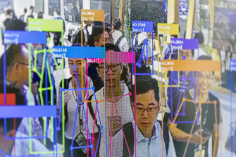 A demonstration of facial recognition technology in China.