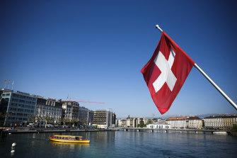 Lake Geneva in Switzerland.